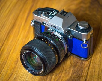 Olympus OM-20 SLR film camera - Blue Leather