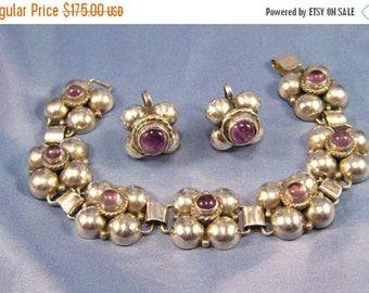 ON SALE Bracelet Vintage Old Mexican Silver 925 Sterling Clover Leaf Amethyst Earrings Demi Set