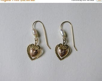 ON SALE Delicate 14K yellow and rose gold heart and freshwater pearl earrings