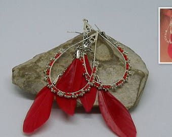 Earrings feathers weave red and silver