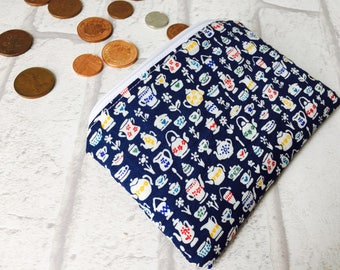 Liberty fabric coin purse, liberty fabric purse, Liberty loose change purse, Liberty zippered pouch, Liberty coin pouch, Alice in Wonderland