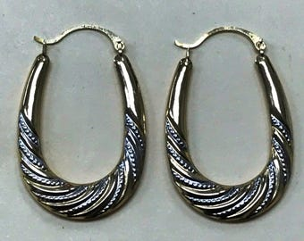 Large Pretty 14K Yellow White Gold Oval HOOP EARRINGS