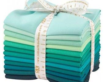 Summer Sale- Kaufman Fat Quarter Bundle Kona 12 Piece Cotton Lush Lagoon Fabric~Fast Shipping FQ262