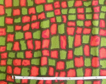 Vintage 50s-60s Modern Red, Green and Orange Abstract Check Linen/Burlap Upholstery Fabric
