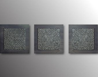 Set of 3 Silver and Grey Wall Sculptures - Triptych Wall Art - Textured Abstract Wall Hanging - Sculptural Large Wall Art Set