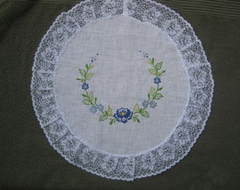 Handmade Round Doily with Blue Flowers