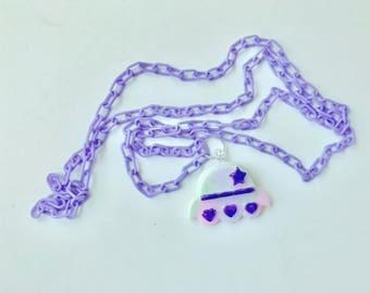 Pastel Alien Ship Kawaii Necklace