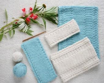 Crochet Patterns - Cowl Pattern and Headband Pattern - DIY Crochet Accessory Set by HiddenMeadow Crochet - Woodland Trekke P201
