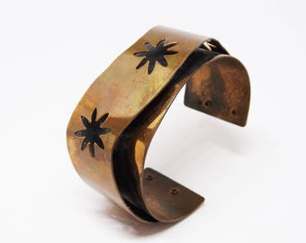 1970s Layered Pierced Copper Cuff Star Flower Pierced Design Bracelet
