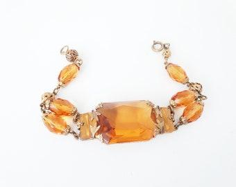 1930s Art Deco Czech Glass Topaz Glass Leaf Bracelet