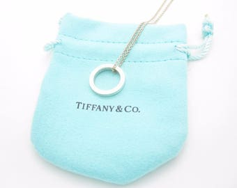 """Tiffany & Co. Sterling Silver 1837 Collection Small Circle Pendant Necklace 16"""""""