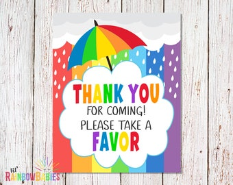 PRINTABLE Thank You For Coming Please Take A Favor Sign, Party Favor Sign, Thank You Sign, Rainbow Baby Shower Party Sign, INSTANT DOWNLOAD