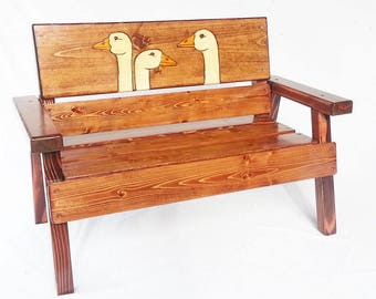 Childrens Furniture Reclaimed Wood Garden Bench, Outdoor / Patio Kids Bench,  Toddler Bench,