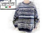 Coogi Style Sweater, Cosby sweater , Hip hop sweater ,  textured sweater, men's Cotton Pullover  , men's jumper , size X L , # 68