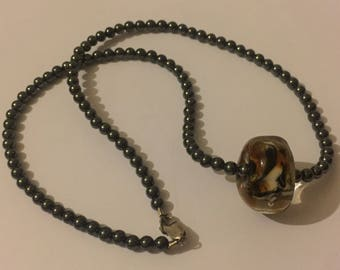 Vintage sterling silver Hematite And Murano Glass Necklace