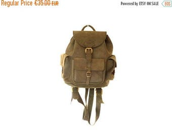ON SALE Little 90s Vintage Backpack / Little black leather Backpack / boho