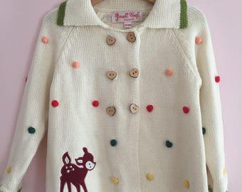 Handmade knitted vintage cardigan 18-24m