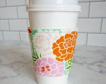 Reusable Coffee Sleeve-Peony Print