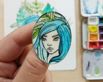 brooch with miniature watercolor painting