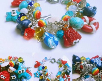 Sea Ocean Bracelet Summer Bracelet Beach Bracelet Starfish Bracelet Bracelet for her Idea for gift Gift fot her Handmade jewelry Blue White