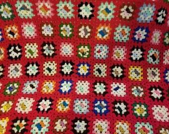 Vintage Hand Made Granny Square Crochet Blanket Afghan