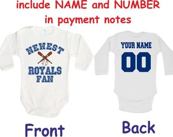 Kansas city royals baby etsy royals baby bodysuit newest fan royals customized personalized name number one piece bodysuit funny baby child negle Image collections