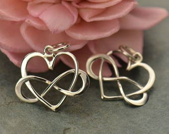 Infinity Heart Charm Sterling Silver, Infinity Symbol Charm, Infinity Charms
