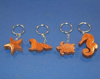 Sea Life Collection of Handcrafted wood keychains.