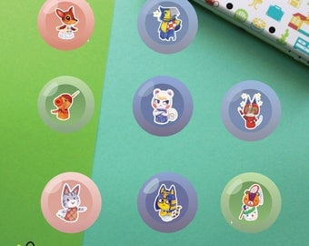 Villagers #2 Buttons   Animal Crossing New Leaf   Fauna Keaton Zucker Marshal Kid Cat Lolly Ankha Stitches