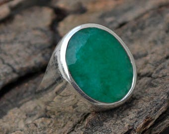 Natural Emerald Gemstone Ring, Large Ovel Faceted Emerald Ring, May Birthstone Gift Ring, 925 Sterling Silver Ring, Men's Gift Ring Jewelry