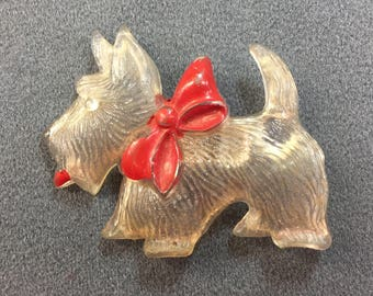 Big Old Celluloid Scottie Dog Brooch-Cool!  Free shipping