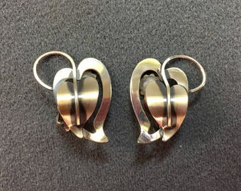 Mid Century Modern Sterling Silver Leaf Clip Earrings. Free shipping