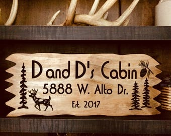 Custom Cabin Sign, personalized Camping Signs, Carved signs, Welcome Signs, Address plaque, Camping signs, large signs, Outdoor Wooden Signs