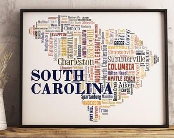 South Carolina Map Etsy - South carolina cities map
