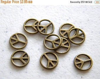 HALF PRICE 10 Small Bronze Peace Charms