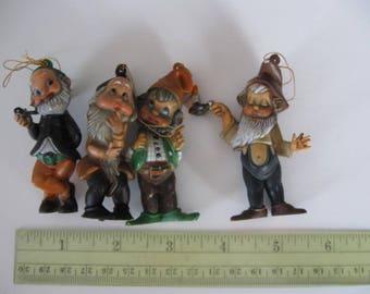 4 Vintage Elf Gnome Dwarf Ornaments