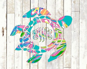 Sea Turtle Monogram Vinyl Decal - Nautical Tropical Printed Southern Lilly Preppy