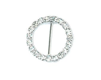 Circle rhinestone 18 mm with Center bar buckle