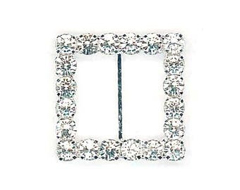 Earring square rhinestone 16 mm with Center bar