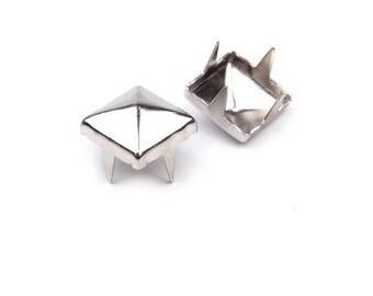50 rivets studs pyramid metal silver 7 mm