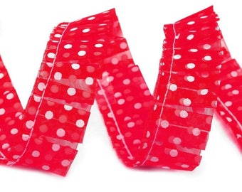 Ruched ruffle Ribbon with white dots 20 mm