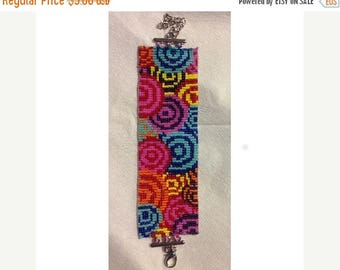 SALE HALF PRICE off Instant Download Beading Pattern Loom Stitch Bracelet Vivid Retro Circles Seed Bead Cuff