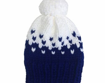 Hat, woolly hat, knitted hat, beanie, bobble hat, winter hat, pom pom, chunky wool, blue, white, chevrons