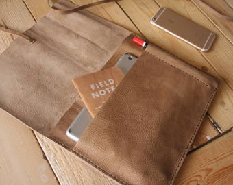 "Leather iPad Case, Apple Pencil Case, 10.5"" iPad Pro Leather portfoli Covers, Khaki Leather / 9.7"" 10.5"" 12.9"""