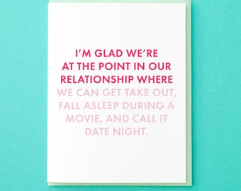 Funny Anniversary Card. Date Night Card. Funny Relationship Card. Card for Him. Card for Her. Netflix and Chill. Take Out Card. Love Card