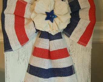 4th of July Patriotic Burlap Cross on Wood