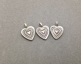 Add A Charm - Karen Hill Tribe Concentric heart Charm.  Add To Any Bracelet or Necklace or for Craft and Jewelry Supply