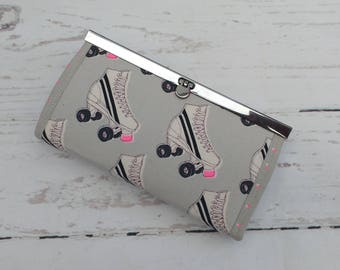Roller Skates Purse / Wallet with gunmetal flip lock frame. 100% Cotton. Coins, notes, mobile phone, cellphone, receipts. Roller Derby. Neon