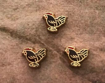 Rooster floating locket charm
