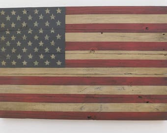 Rustic American Wooden Flag, 19 X 30 inches. Made from recycled fencing. Free Shipping F